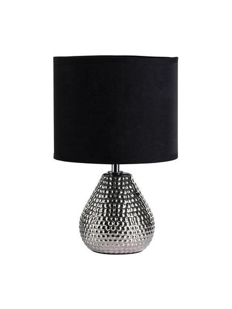 Kleine nachtlampje Sip of Silver van keramiek, Lampenkap: katoenmix, Lampvoet: keramiek, Zilverkleurig, zwart, Ø 18 x H 29 cm