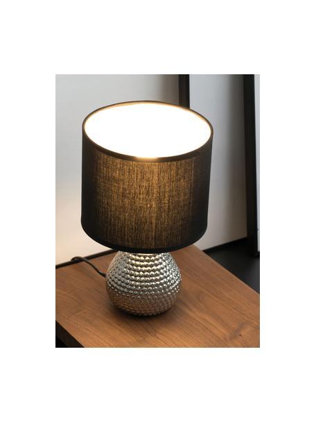 Lampada da comodino in ceramica Sip of Silver, Paralume: misto cotone, Base della lampada: ceramica, Argentato, nero, Ø 18 x Alt. 29 cm