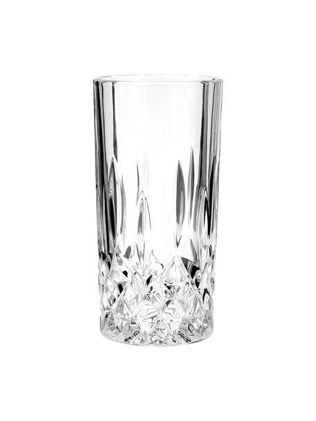 Bicchiere long drink con rilievo in cristallo George 4 pz, Vetro, Trasparente, Ø 8 x Alt. 15 cm