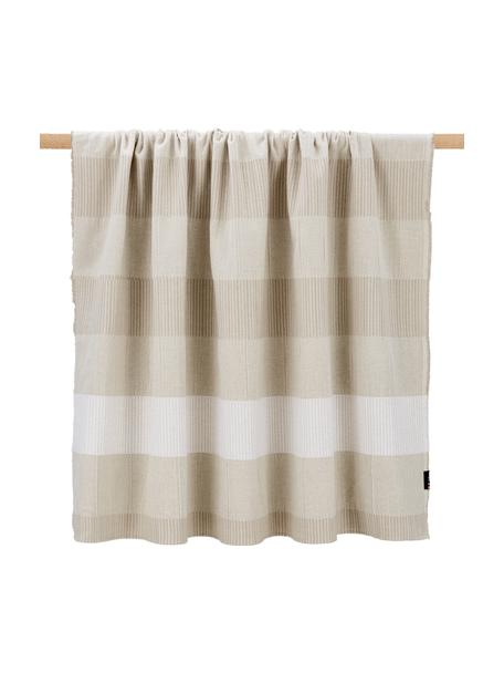 Gestreepte plaid Lino in beige, katoen/linnen, 80% katoen, 15% linnen, 5% viscose, Beige, 135 x 200 cm
