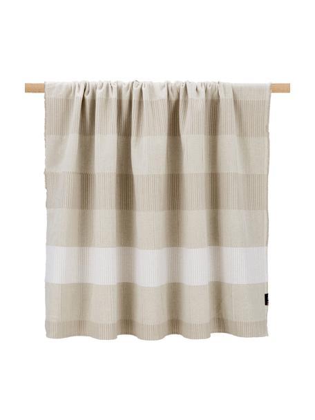 Koc z bawełny Lino, 80% bawełna, 15% len, 5% wiskoza, Beżowy, S 135 x D 200 cm