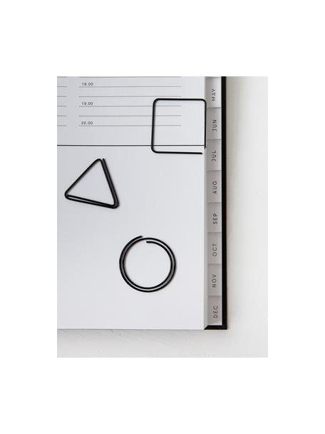 Komplet spinaczy do papieru Geometria, 9 szt., Metal lakierowany, Czarny, S 3 x W 3 cm