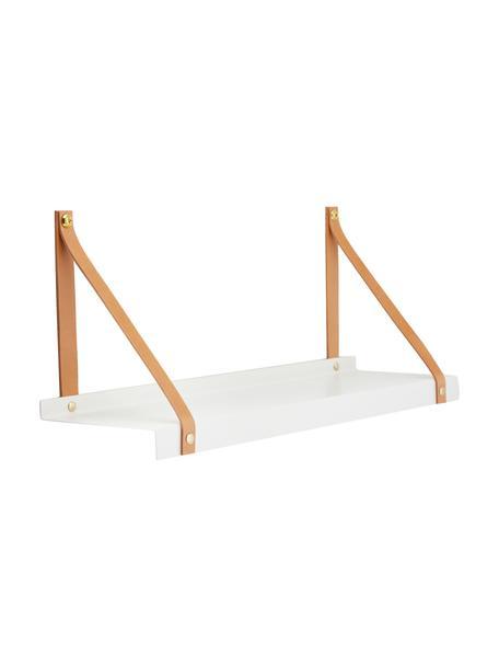 Metalen wandplank Shelfie met leren riemen, Plank: gepoedercoat metaal, Riemen: leer, Wit, bruin, 50 x 23 cm