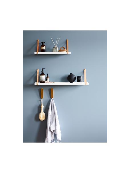Metall-Wandregal Shelfie mit Lederriemen, Regalbrett: Metall, pulverbeschichtet, Riemen: Leder, Weiss, Braun, 50 x 23 cm