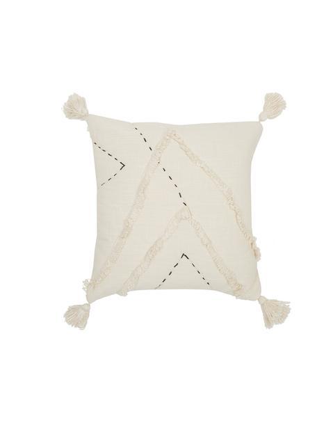 Federa arredo con motivo a rilievo Lienzo, 100% cotone, Bianco latteo, Larg. 45 x Lung. 45 cm