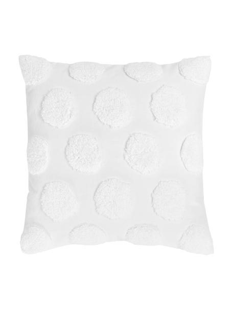 Kussenhoes Rowen met getuft patroon, 100% katoen, Wit, 50 x 50 cm
