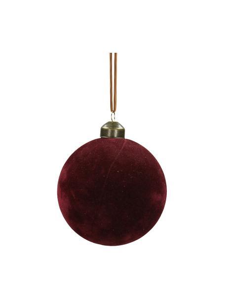Kerstballen Velvet, 4 stuks, Glas, polyesterfluweel, Donkerrood, Ø 8 cm