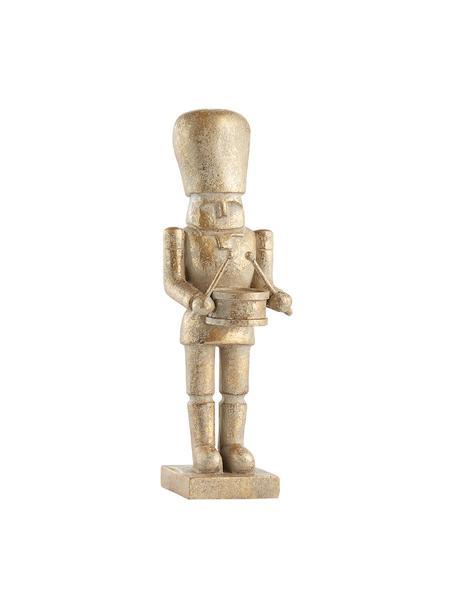 Handgefertigte Deko-Figur Drummer H 23 cm, Polyresin, Goldfarben, Ø 7 x H 23 cm