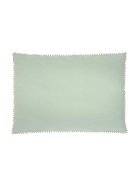 Funda de almohada de percal con pompones Bommy, Verde, An 50 x L 70 cm