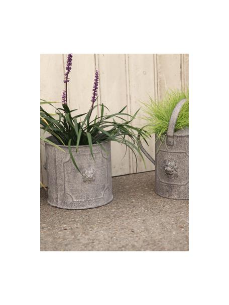Plantenpottenset Lowa van metaal, 2-delig, Metaal, Grijs, crèmewit, Set met verschillende formaten