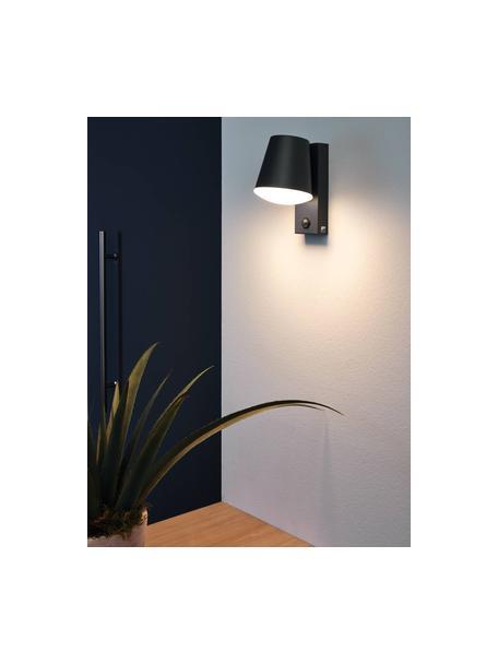 Outdoor wandlamp Caldiero met bewegingssensor, Lampenkap: Verzinkt staal, Diffuser: kunststof, Antraciet, 14 x 24 cm