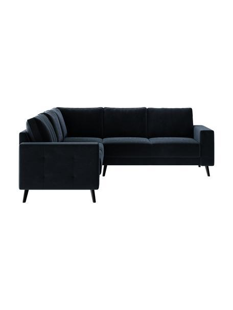 Sofa narożna z aksamitu Fynn, Tapicerka: 100% aksamit poliestrowy, Stelaż: drewno liściaste, drewno , Nogi: drewno lakierowane Dzięki, Ciemny niebieski, S 234 x G 234 cm