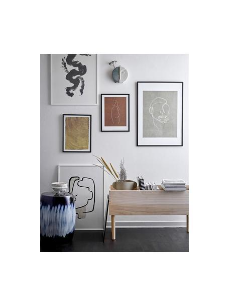 Gerahmter Digitaldruck Erika, Rahmen: Holz, Bild: Papier, Front: Glas, Schwarz, Braun, Weiß, 32 x 42 cm