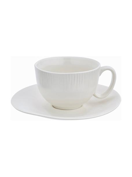 Taza de café con platito artesanal Sandvig, Porcelana, coloreada, Blanco roto, Ø 8 x Al 6 cm