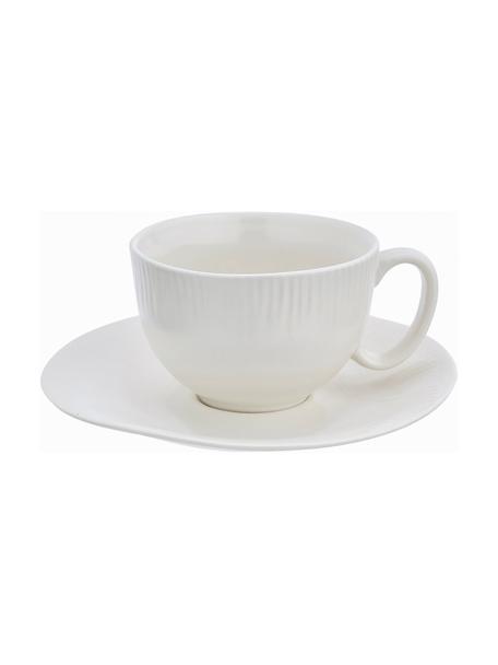 Tazza da tè con piattino fatti a mano Sandvig, Porcellana tinta, Bianco latteo, Ø 8 x Alt. 6 cm