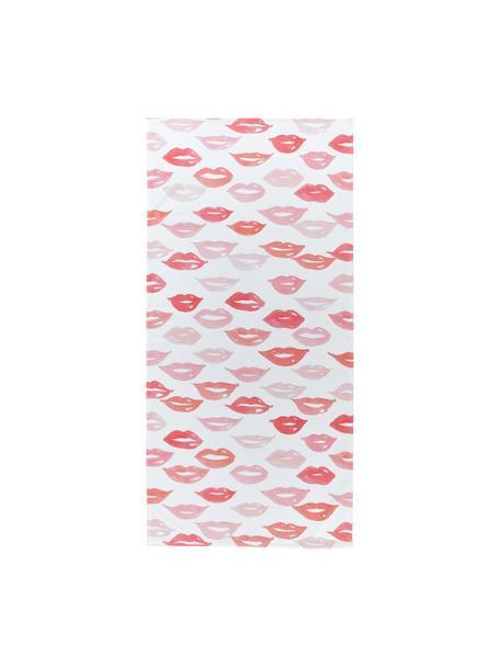 Telo mare leggero con motivo labbra Pout, 55% poliestere, 45% cotone, qualità molto leggera 340 g/m², Bianco, rosso, rosa, Larg. 70 x Lung. 150 cm