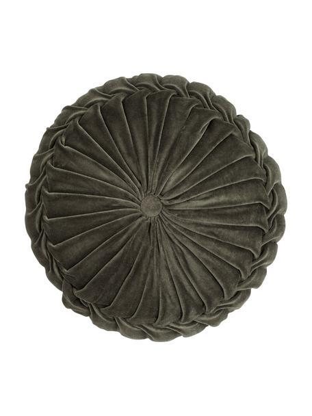 Cojín redondo de terciopelo Kanan, con relleno, Funda: terciopelo 100%algodón, Verde profundo, Ø 40 cm