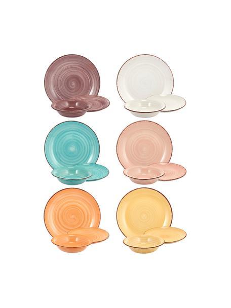 Set 18 piatti dipinti a mano in tonalità pastello per 6 persone Baita, Gres (Hard Dolomite), dipinto a mano, Tonalità pastello, Set in varie misure
