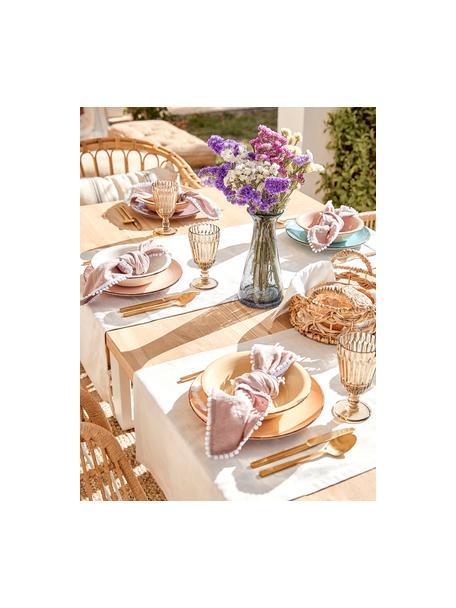 Vajilla artesanal Baita, 6comensales (18pzas.), Gres (dolomita) pintadoamano, Tonos de amarillo y rosa, azul claro, blanco, Set de diferentes tamaños