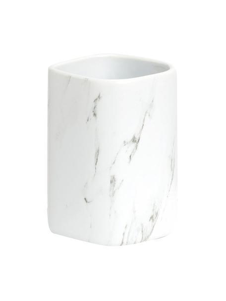 Porta spazzolini in ceramica effetto marmo Marble, Ceramica, Bianco, Larg. 8 x Alt. 11 cm