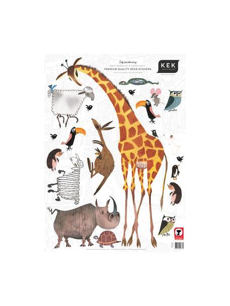 Set de pegatinas de pared Animals, 20pzas., Lámina de vinilo autoadhesiva mate, Multicolor, An 42 x Al 59 cm