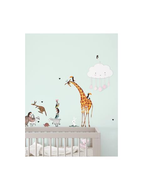 Set 20 adesivi murali Animals, Film vinilico autoadesivo, opaco, Multicolore, Larg. 42 x Alt. 59 cm