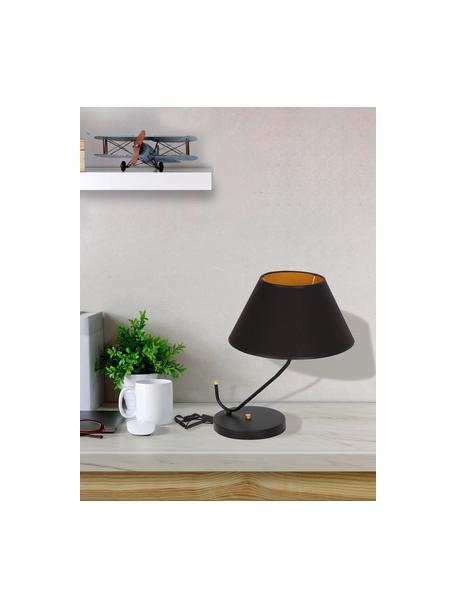 Lampada da tavolo di design Victoria, Paralume: miscela di cotone, Base della lampada: metallo rivestito, Decorazione: metallo rivestito, Nero, dorato, Larg. 45 x Alt. 50 cm