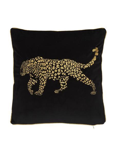 Geborduurd fluwelen kussen Majestic Leopard in zwart/goudkleur, met vulling, 100% fluweel (polyester), Zwart, goudkleurig, 45 x 45 cm
