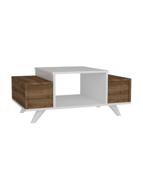 Tavolino da salotto con contenitore Eriberto, Truciolare melaminico, Bianco, legno scuro, Larg. 90 x Alt. 44 cm