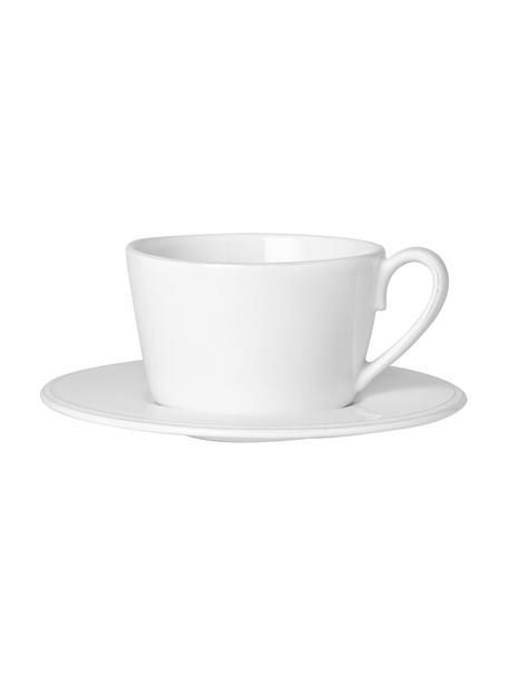 Tazza da tè con piattino stile country Constance, Gres, Bianco, Ø 19 x Alt. 8 cm