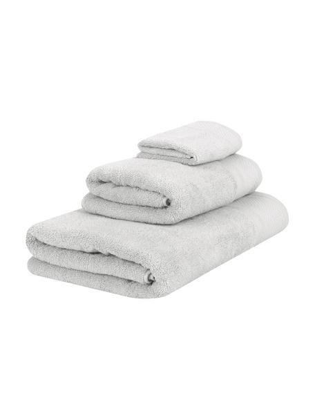 Set 3 asciugamani Premium, Grigio chiaro, Set in varie misure