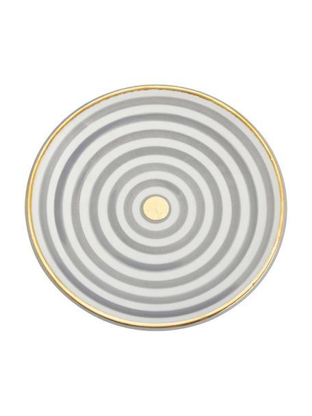 Plato postre artesanal Assiette, estilo marroquí, Cerámica, Gris claro, crema, oro, Ø 20 cm