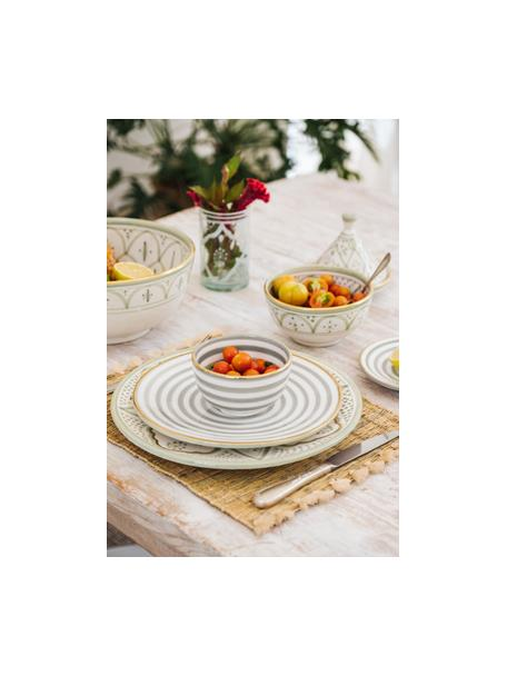 Handgemaakt Marokkaans ontbijtbord Assiette met goudkleurige rand, Keramiek, Lichtgrijs, crèmekleurig, goudkleurig, Ø 20 cm