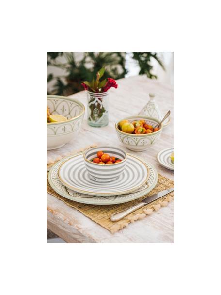 Handgemachter marokkanischer Frühstücksteller Assiette mit Goldrand, Keramik, Hellgrau, Cremefarben, Gold, Ø 20 cm