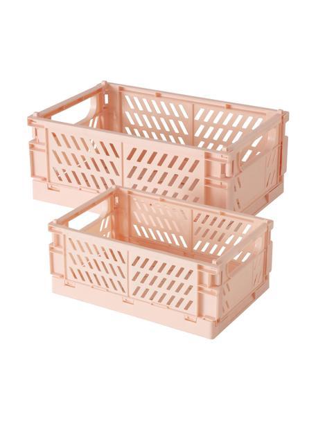 Komplet koszy do przechowywania Malmo, 2 elem., Tworzywo sztuczne z recyklingu, Blady różowy, Komplet z różnymi rozmiarami