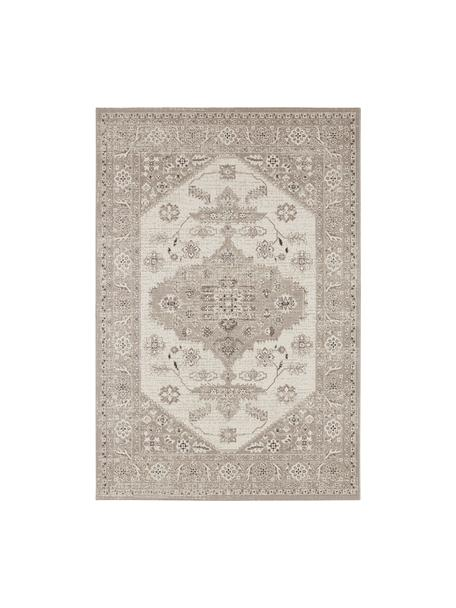 In- & Outdoor-Teppich Navarino mit Vintagemuster, 100% Polypropylen, Cremeweiß, Taupe, B 80 x L 150 cm (Größe XS)
