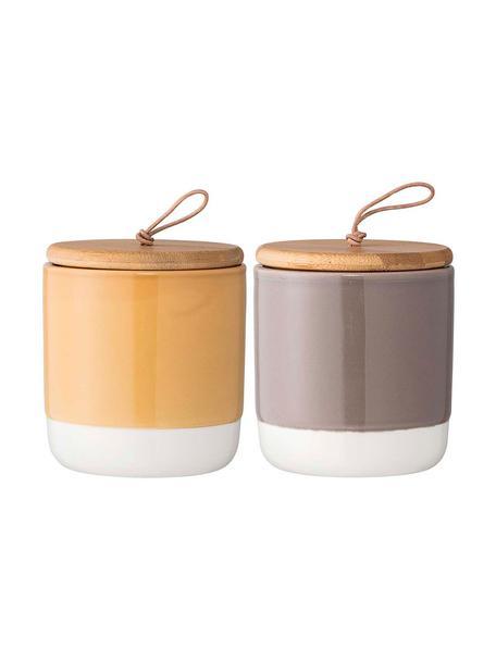 Opbergpottenset Starni, 2-delig, Pot: keramiek, Deksel: acaciahout, leer, silicon, Geel, grijs, bruin, Ø 10 x H 11 cm