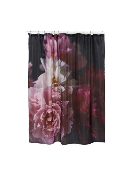 Tenda da doccia con motivo floreale Rosemarie, 100% poliestere Idrorepellente non impermeabile, Nero, tonalità rosa, Larg. 180 x Lung. 200 cm