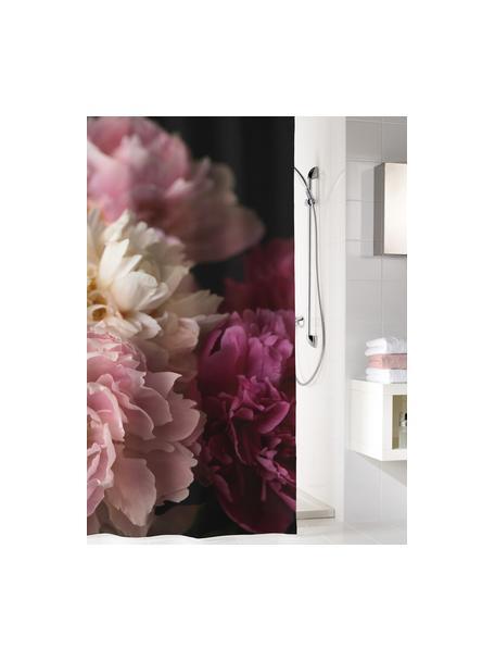 Cortina de baño Rosemarie, 100%poliéster Repelente al agua, no impermeable, Negro, tonos rosas, An 180 x L 200 cm