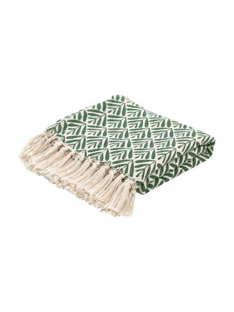 Manta de agodón con flecos Leaves, 100%algodón, Verde, crema, An 130 x L 170 cm