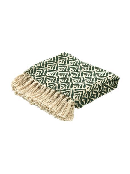 Pled z bawełny z frędzlami Leaves, 100% bawełna, Zielony, odcienie kremowego, S 130 x D 170 cm