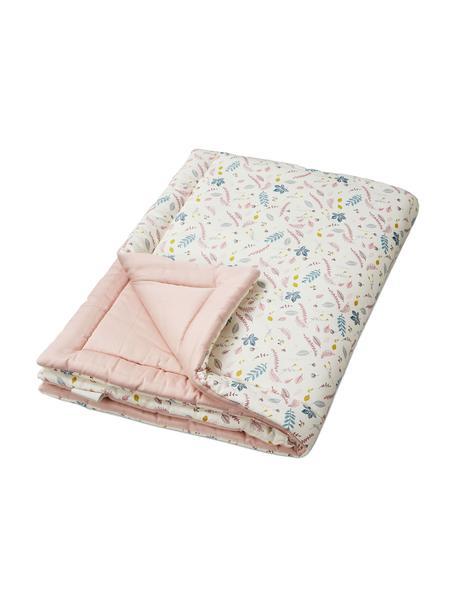 Cubrecolchón Pressed Leaves, Tapizado: 100%algodón ecológico, c, Crema, rosa, azul, gris, An 90 x L 120 cm