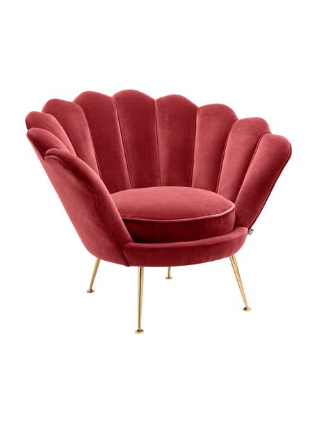 Fluwelen lounge fauteuil Trapezium in rood, Bekleding: 95% polyester, 5% katoen , Poten: messing gecoat edelstaal, Donkerrood, B 97 x D 79 cm