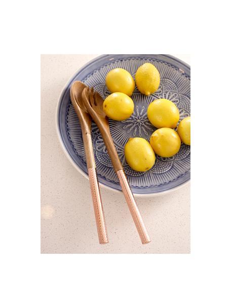 Set 2 posate da insalata in legno di acacia Oasis, Posate: legno di acacia, Rame, legno, Lung. 34 cm