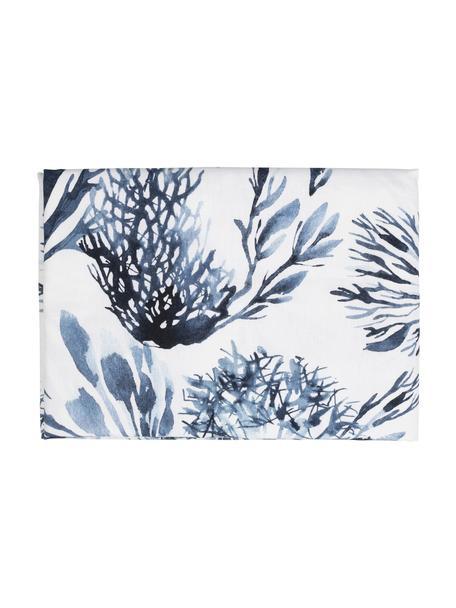 Tovaglia in cotone Bay, 100% cotone, Bianco, blu, Per 4-6 persone (Larg. 160 x Lung. 160 cm)