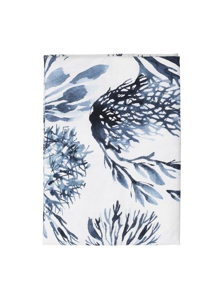 Obrus Bay, 100% bawełna, Biały, niebieski, Dla 4-6 osób (S 160 x D 160 cm)