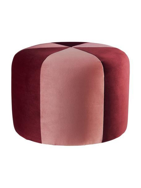 Puf infantil de terciopelo Barcelona, Tapizado: terciopelo de poliéster, Estructura: madera, Rojo, rosa, Ø 40 x Al 28 cm
