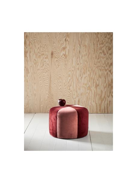 Fluwelen kinderpoef Barcelona, Bekleding: polyester fluweel, Frame: hout, Rood, roze, Ø 40 x H 28 cm