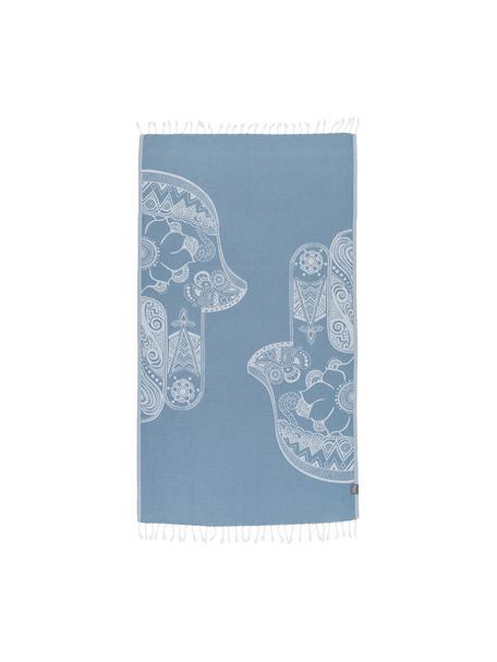 Hamamdoek Hamsa, 100% katoen, lichte kwaliteit, 180 g/m², Lichtblauw, wit, 90 x 180 cm