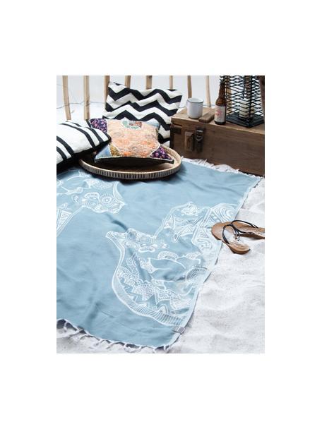 Telo fouta in cotone Hamsa, 100% cotone Qualità leggera, 180g/m², Azzurro, bianco, Larg. 90 x Lung. 180 cm